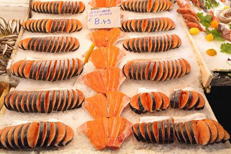 filets: Filets of Salmon at Fish Market Stall