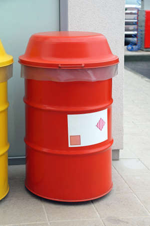 hazardous waste: Red Barrel for Dangerous and Hazardous Waste Disposal Stock Photo
