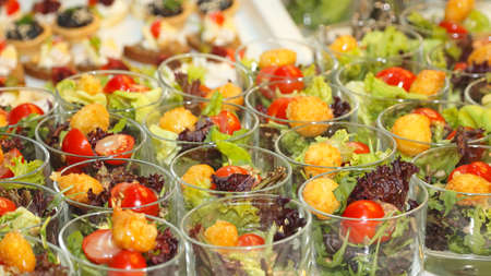party with food: Decorative Small Canape Party Food Buffet