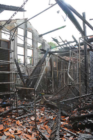 disaster: Burned Factory Building After Fire Disaster