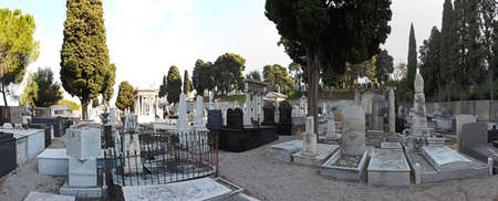 israelite: NICE, FRANCE - JANUARY 18  Cimetiere du chateau in Nice on JANUARY 18, 2012  Panorama of cemetery Israelite in Nice, France  Editorial