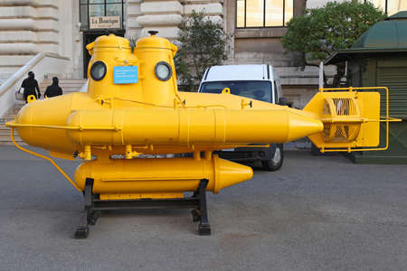 oceanographic: MONTE CARLO, MONACO - JANUARY 18  Yellow submarine in Monte Carlo on JANUARY 18, 2012  Anorep watercraft of explorer Jacques Cousteau at Oceanographic Museum in Monte Carlo, Monaco
