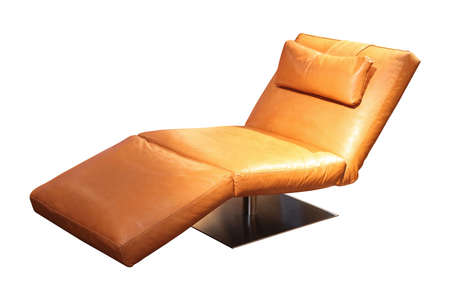 'hide out': Leather chaise longue isolated included clipping path