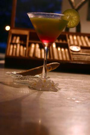 daiquiri alcohol: A tropical drink in a bar in Panama.