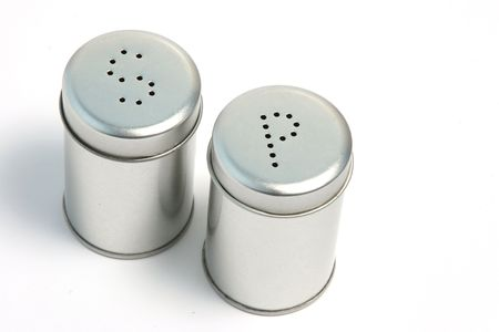 salt and pepper: Salt and pepper cans with letters S and P.