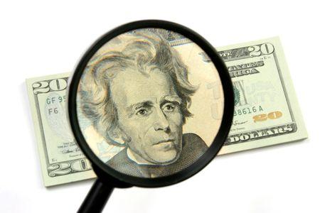 A closeup of a magnified twenty dollar bill. Stock Photo - 347132