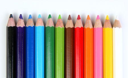 nontoxic: Colored pencils over a white background horizontal array. Stock Photo
