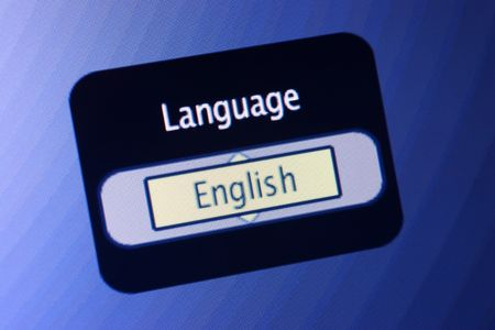 spoken: LCD display with the world Language and a selection of English.