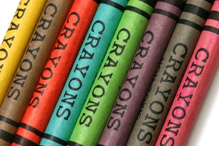 stimuli: Multicolored crayons with a generic word crayon on its wraps on a white background.