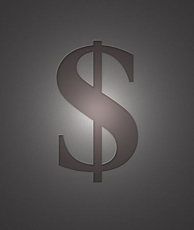 A dollar sign engraved on metal with a shiny light. photo