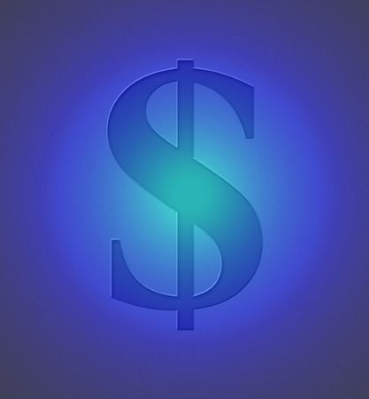 A dollar sign engraved on metal with a blue light. Stock Photo - 347031