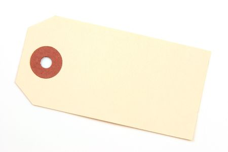ivory: Ivory colored tag with ring over a white backgroun. Stock Photo