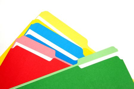 consumables: Colored folders on a white background stacked