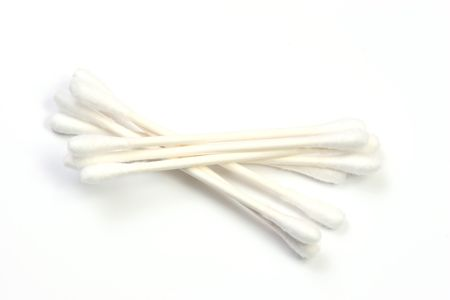 Cotton swabs over a white background. photo