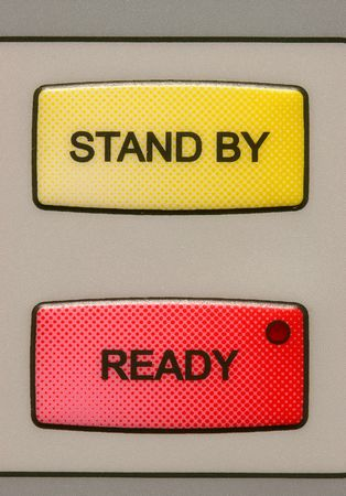 Stand by and ready buttons on a medical laser unit. photo
