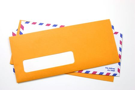 Stacked envelopes with the upper one with an empty address space. photo
