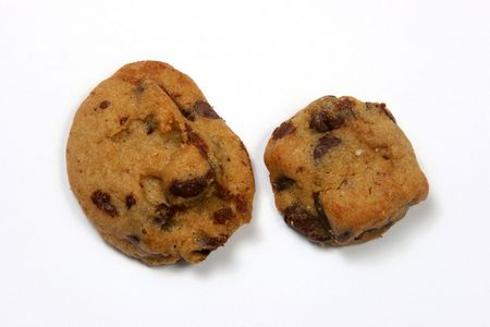 Chocolate chip cookies on a white background in a horizontal presentation. photo