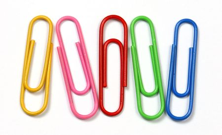 consumables: Colored clips over a white background.