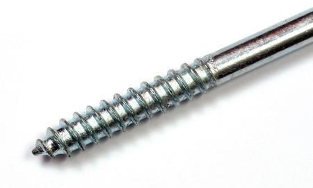 standard steel: Iron screw close up over a white background. Stock Photo