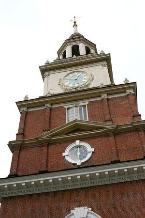 角度のついた: 斜めのビューを持つフィラデルフィアの独立記念館