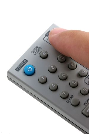 changing channels: Remote control with finger changing channels, vertical presentation.