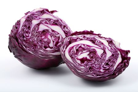 leaved: Purple leaved cabbage cut in half on a white background.