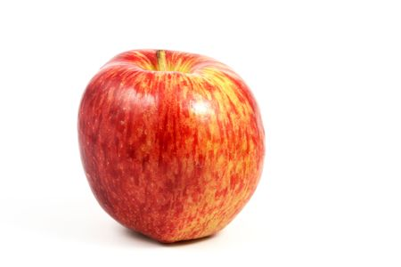 comestible: Horizontal view of an apple, red, over a white background. Stock Photo