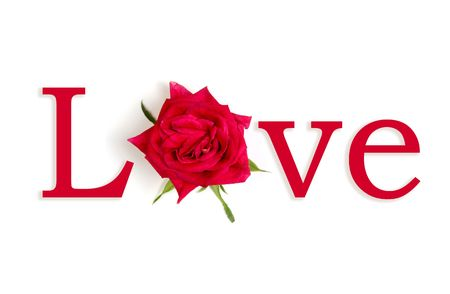 amore: The word LOVE with the O replaced by a flower