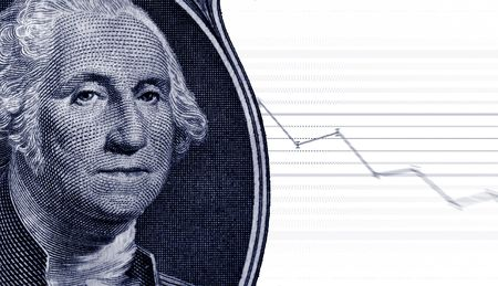 market trends: George Washington from a dollar bill and a graph showing market trends