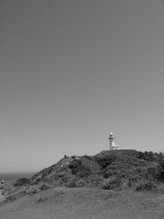 byron: Byron Bay Lighthouse from afar (Black & White) Stock Photo