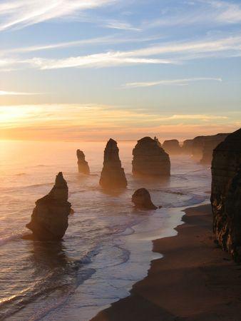 apostles: Sunset at the 12 Apostles along the Great Ocean Road, Victoria, Australia