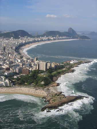 brazil beach: Ipanema & Copacabana Beaches with Sugar Loaf Mountain in the background Stock Photo