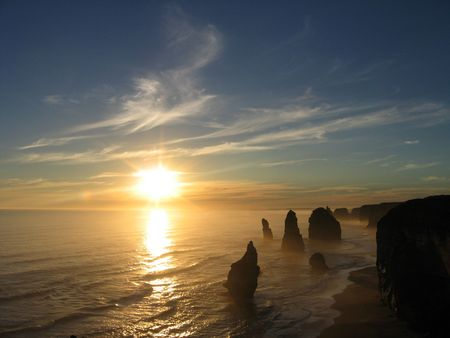 apostles: Sunset over the 12 Apostles, Great Ocean Road, Victoria, Australia