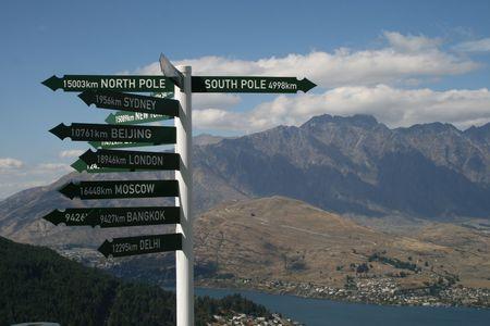 World Cities Distance Sign in Queenstown, New Zealand photo