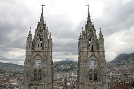 vow: The Two Clock Towers of Quito Cathedral, Basilica of the National Vow (Basílica del Voto Nacional), Ecuador Stock Photo