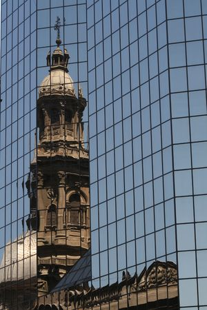 Santiago Cathedral Reflected in a Modern Office Building, Chile photo