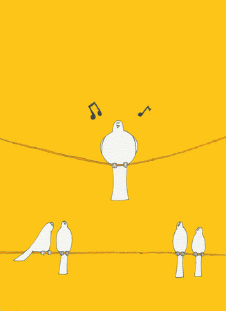 fat bird: one large bird sits on a wire singing his song while four birds sit on a wire under the large bird looking up at him