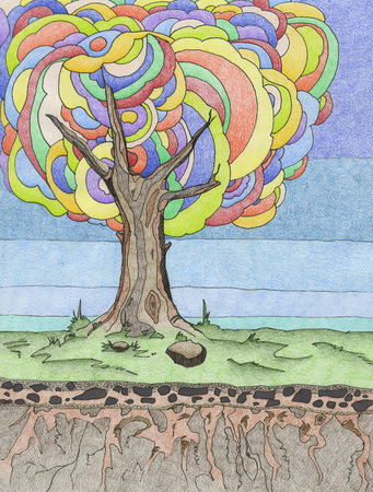 rock layer: A single tree stands in a grassy field with colorful leaves and blue sky with layers showing the roots