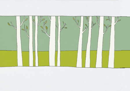 thicket: Hand drawn illustration of a forest with rows of trees and leaves in the spring time on a green hill  Stock Photo