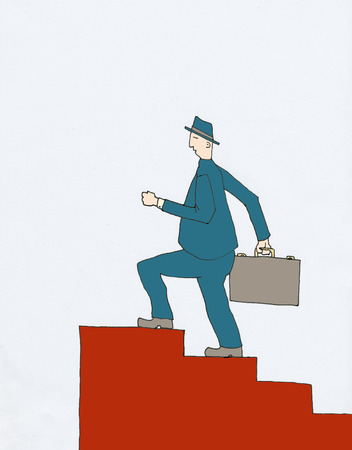 staircases: Older Businessman in blue suit is climbing red staircase holding briefcase Stock Photo