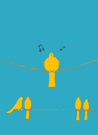 large bird: one large bird sits on a wire singing his song while four birds sit on a wire under the large bird looking up at him