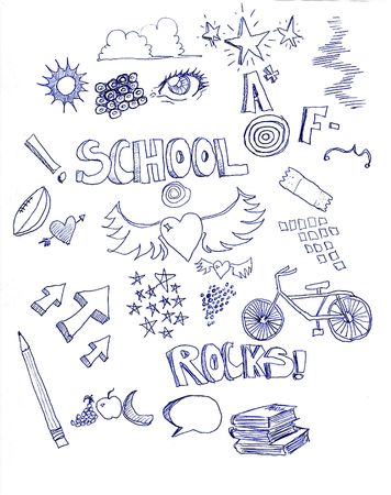 many different doodles with a school theme with letter grades, arrows, pencil, hearts, books, and a bicycle,  Stock Photo