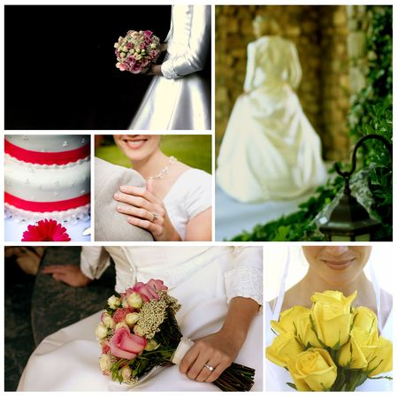 A collage and mix of photos of wedding photos and bridal photos during the wedding along with the wedding cake and bride and groom Stock Photo - 4202713