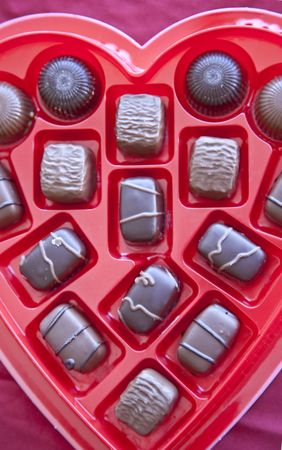 pieces of milk chocolate and dark chocolate lie in a heart shaped tray ready for valentines day photo