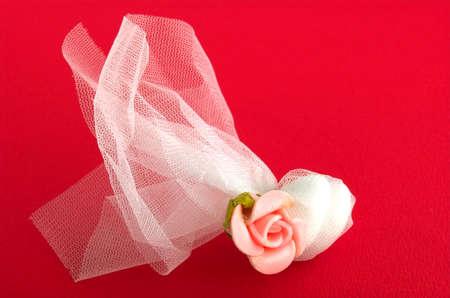 velvet background: wedding invitation in red velvet background