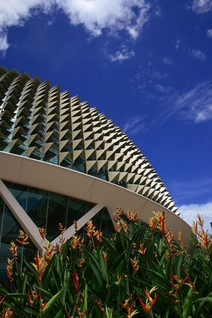 Esplanade, a landmark building in Singapore with heliconia in frontground and blue sky. Editorial