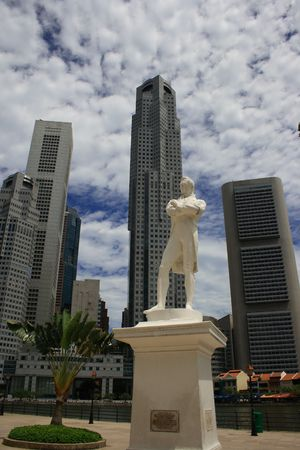 the quay: Raffles statue on Clark Quay. Stamaford Raffles, the man who founded modern Singapore.