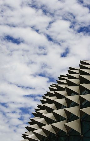 Roof of Esplanade, a landmark building in Singapore with cloudy sky.