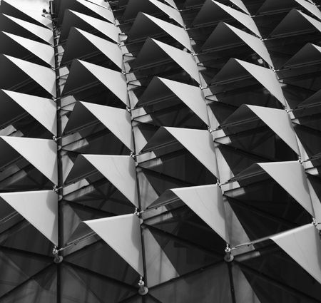 Roof of Esplanade, a landmark building in Singapore form a pattern can use in design.