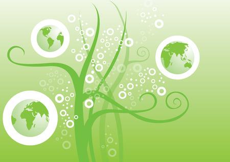 wereldbol groen: Green Globe met enkele elementaire grafische backgroud.